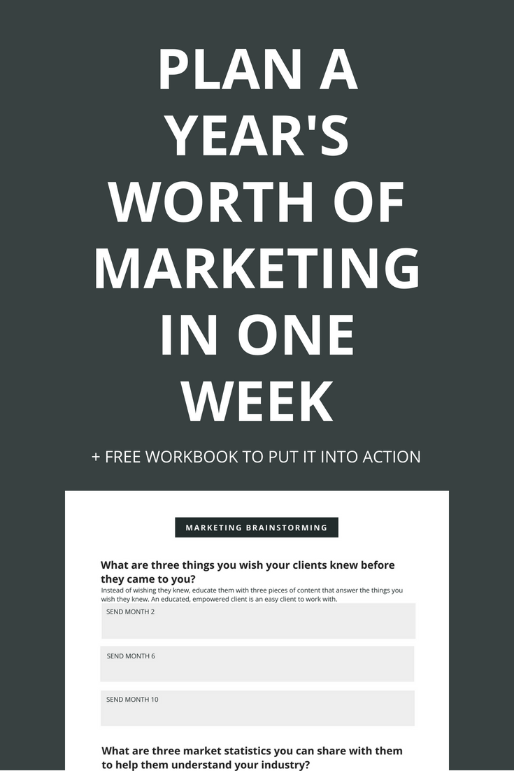 Marketing your brand or business shouldn't feel like a full time job. In this post, you'll plan an entire year's worth of marketing for your network in just one week so that you can get back to the important stuff. Click through to learn how to make it happen and to download the free workbook.