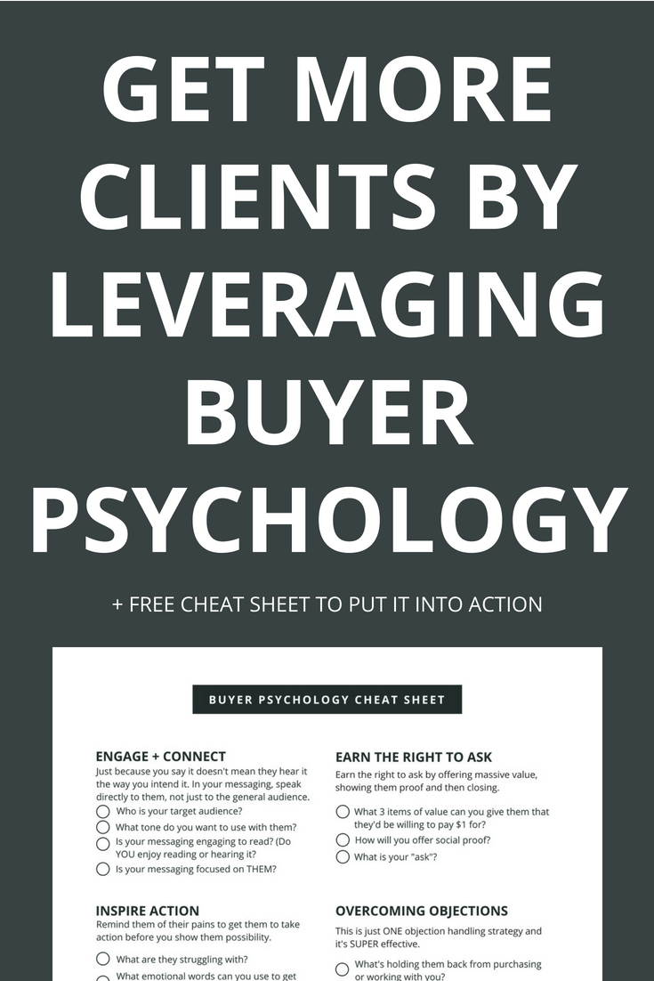 Every business owner dreams of getting new clients on autopilot with them falling over themselves to work with you, hire you and buy from you without rejection. While it may not be THAT simple, you can DRASTICALLY increase your conversions by leveraging buyer psychology to speak to the parts of their brain that make them WANT to buy from you. Click through to learn more and to get your free cheat sheet.